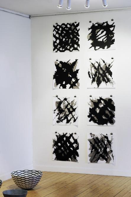 """""""Streger"""", tusch på papir 50x50 cm. Vist i Skovhuset, Værløse 2012"""