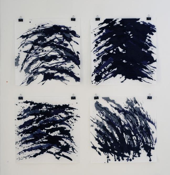 """Streger"", tusch på papir. 50x50 cm."