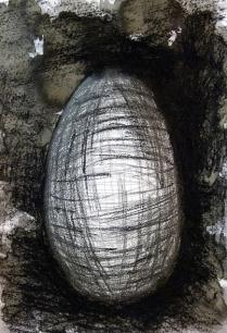 Æg med tusch og kul, A4